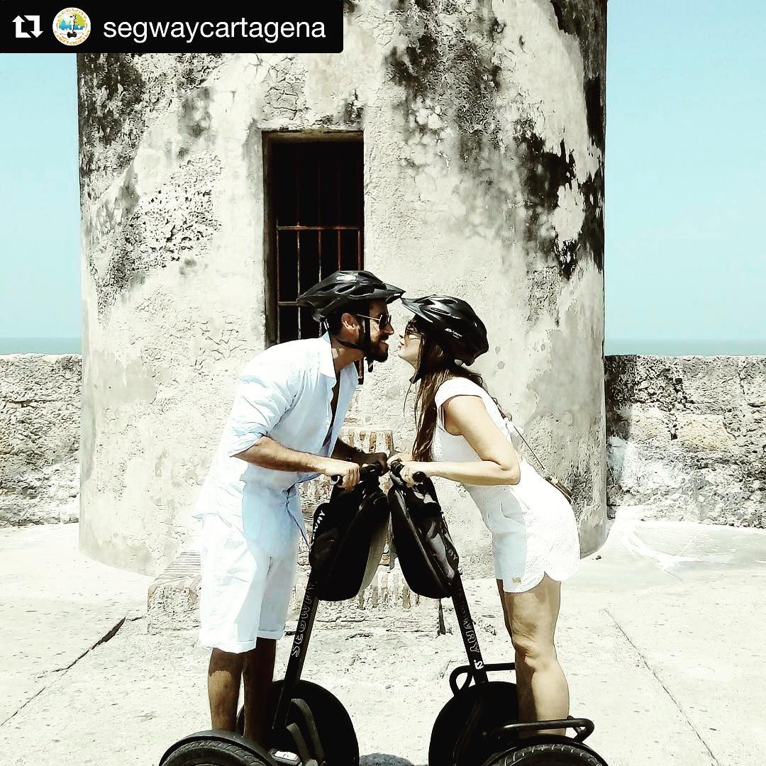 Segway tour of the day @segwaycartagena ・・・ Riding with love. Segway Cartagena style kiss!