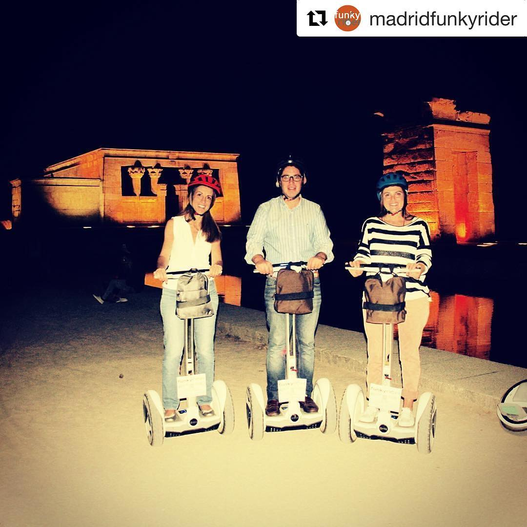 Night tours in Madrid Spain  .  @madridfunkyrider ・・・ Ninebot Segway Tour by night with Funky Rider at Debod Temple Madrid