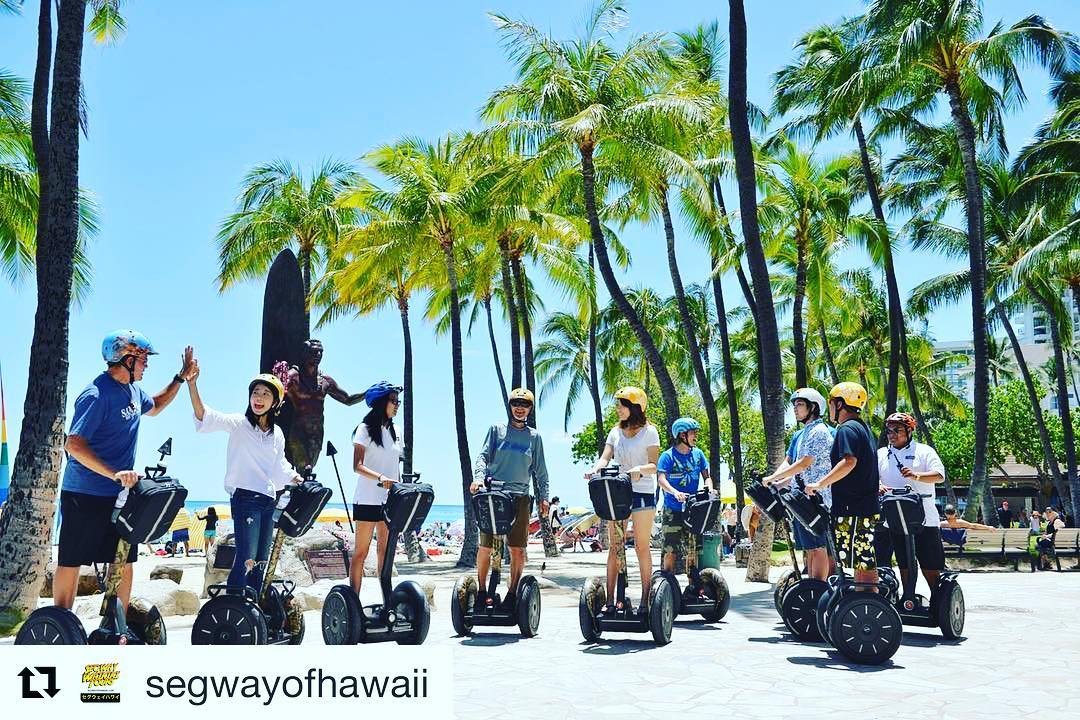 @segwayofhawaii ・・・ A great gathering in front of braddah Duke! The king and father of surf! segwayextreme