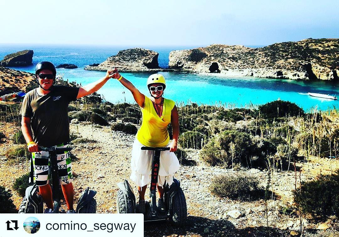 Beautiful blue waters of Malta 🇲🇹 Segway tour beach destination of the day @segwayworldwide . @comino_segway