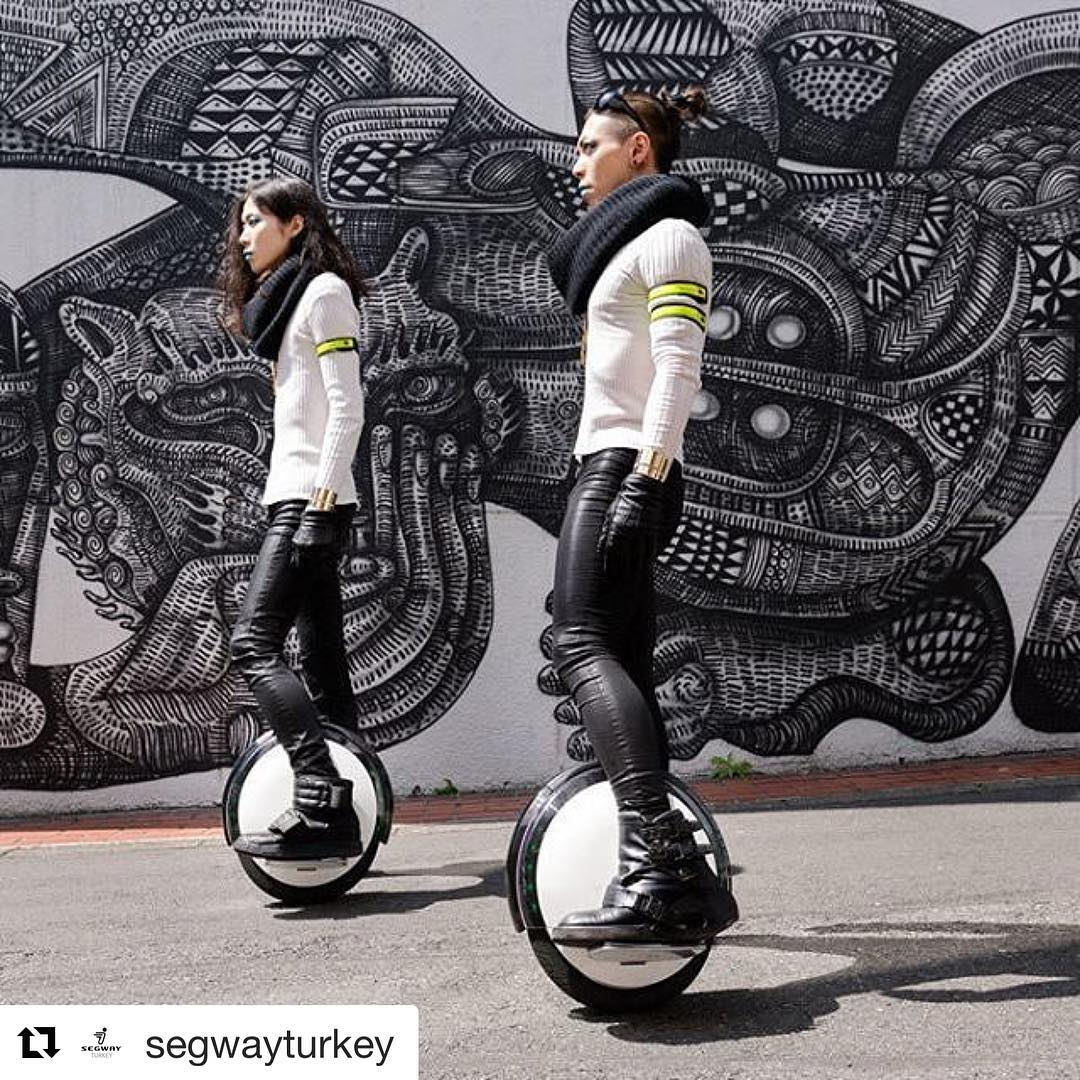 Ninebot solo shot of the day with a @zioziegler wall piece in the background. . @segwayturkey ・・・ One S2 ile herkese günaydın!