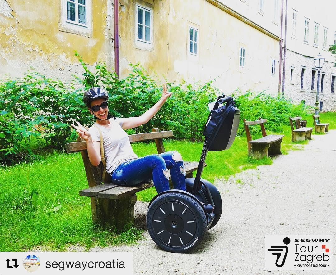 Taking a time out while gliding in Zagreb Croatia 🇭🇷 @segwaycroatia ・・・
