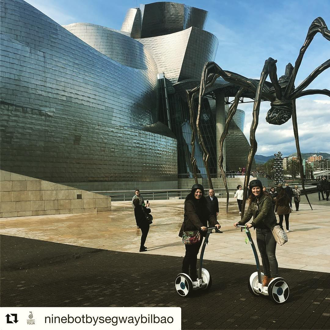Ninebot tours near the Guggenheim Museum in Bilbao Spain  @segwayworldwide  tour of the day!  @ninebotbysegwaybilbao ・・・ Nuestras primeras clientas han llegado desde Holanda para para disfrutar de la ciudad a través de un tour ninebot  Our first customers came from Holanda and enjoyed the city by a ninebot tour .