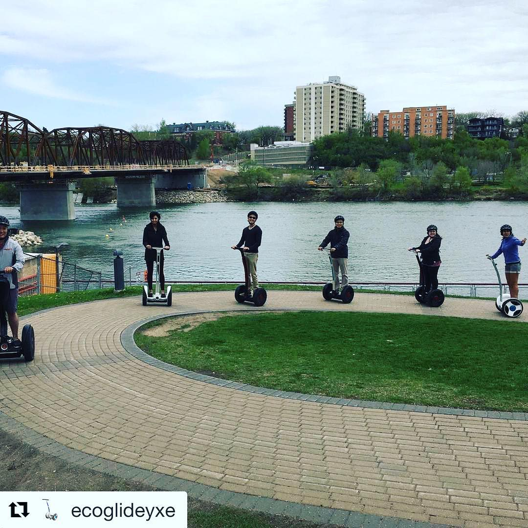 Let's get out and glide!  the @segwayworldwide segway tour of the day is in Saskatoon Canada 🇨🇦 . @ecoglideyxe ・・・ Fun on Segways and Ninebots