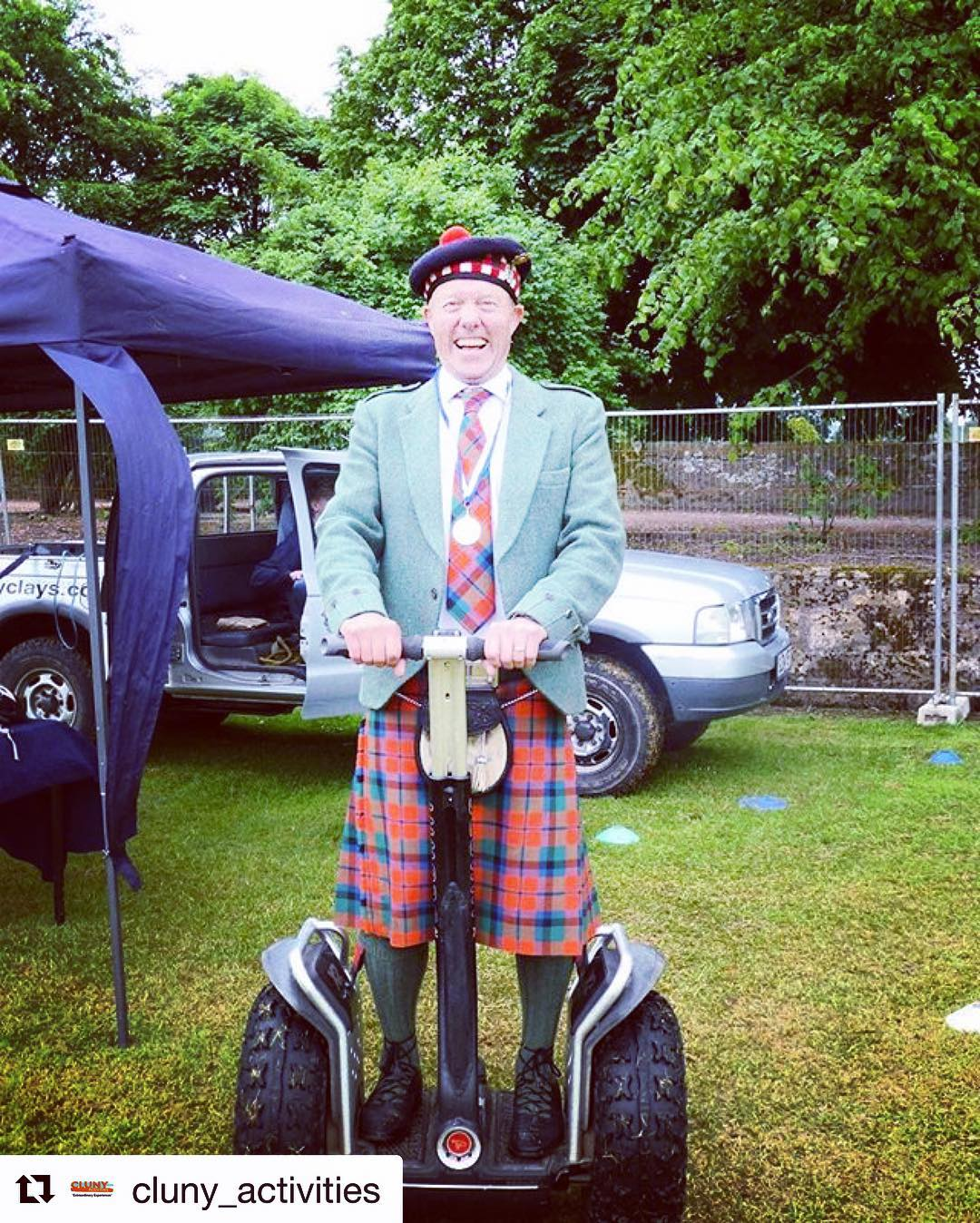 Seems to be the appropriate attire for a segway tour. @segwayworldwide encourages costumes and formal attire while segwaying whenever possible . . @cluny_activities ・・・ Chieftain Alan Hendry showing off his skills at yesterday's Cupar Highland Games!