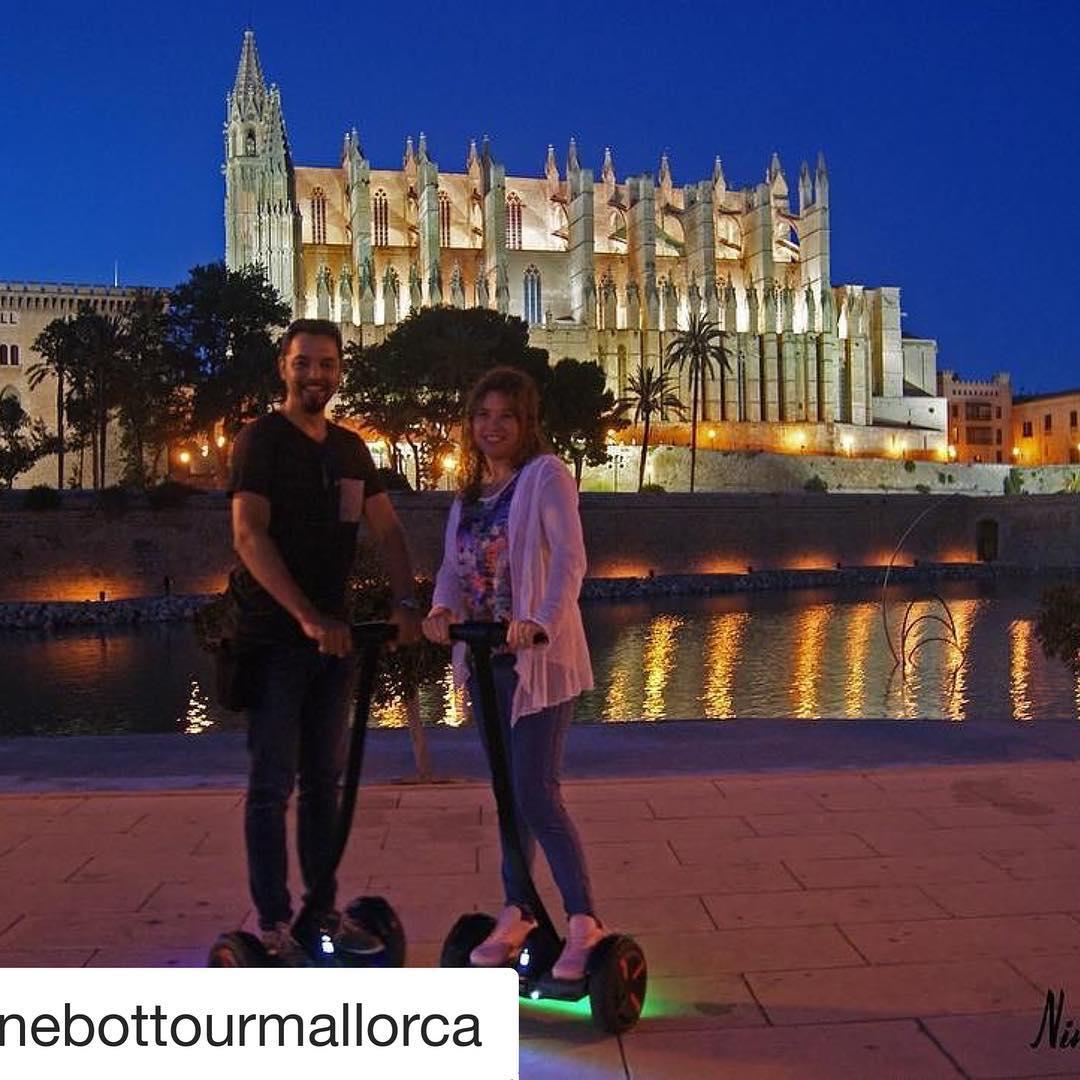 """The @segwayworldwide featured romantic night tour is in Mallorca Spain  . . @ninebottourmallorca (@get_repost) ・・・ ¿Quiéres sorprender a tu pareja?  Llevála a conocer Palma en nuestro TOUR NIGHT.  Introduce el código: """"NIGHT"""" y tendréis un 10% de descuento por persona*. *Sólo los 20 primeros  http://ninebottourmallorca.es/tours/"""