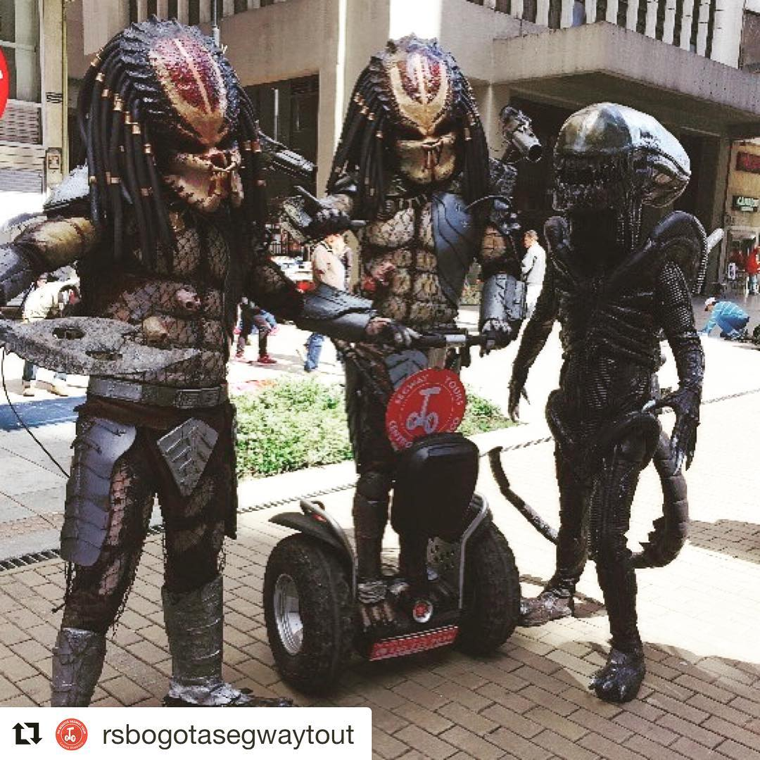 Alien invasion on Segway in Bogota Columbia . Take a segway tour with these guys or other not so out of the world folks chose from over 700 destinations at @segwayworldwide .  @rsbogotasegwaytour . #bogota🇨🇴