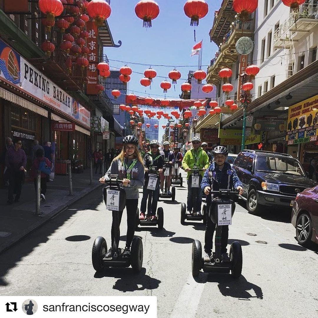 Segway tour of the day: San Francisco Segway Tours gliding through Chinatown. The 1st company offering segway tours in is rated on TripAdvisor and  @sanfranciscosegway ・・・ Check out Chinatown in San Francisco this holiday weekend. Ready to glide with a private segway tour group. Private tours leave from our 2 San Francisco  and locations. Book your segway tour with us today 415-474-3130 . . .