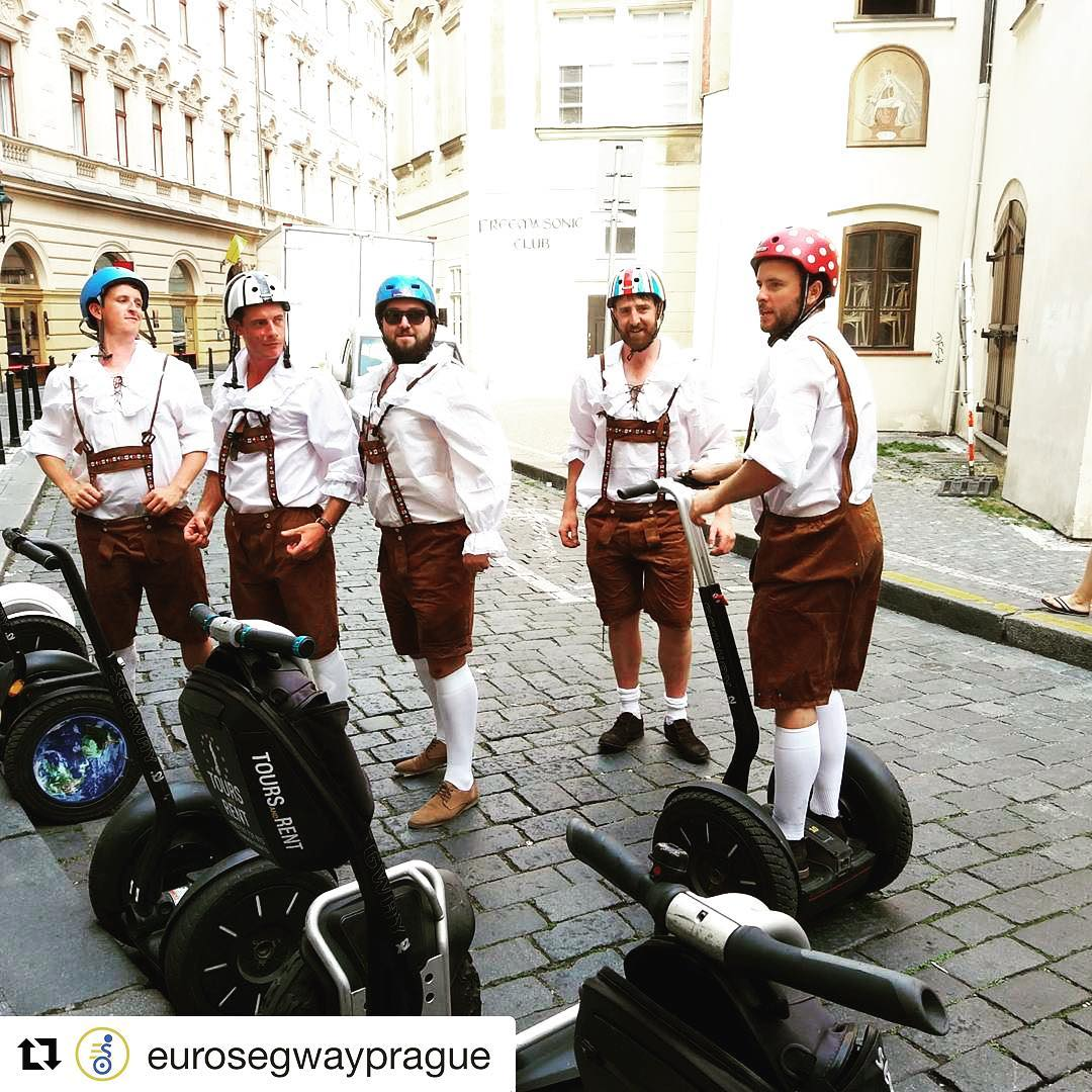 Best segway tour attire of the day plus some very cool 😎 helmets too. See Prague in style with @eurosegwayprague . . @eurosegwayprague ・・・ and @melonhelmets
