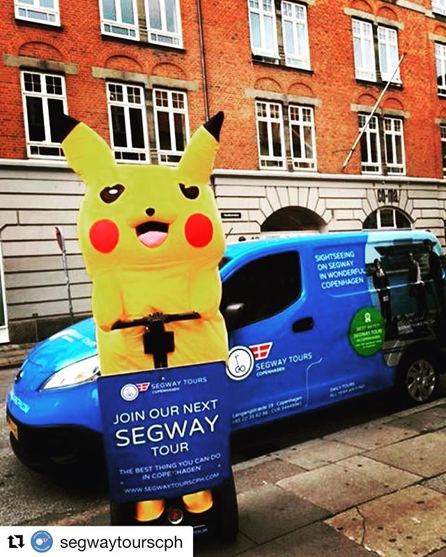 Segway tour guide of the day. Pikachu hired to lead segway tours in Copenhagen @segwaytourscph ・・・ Look who we just hired, as our new Segway guide . . .