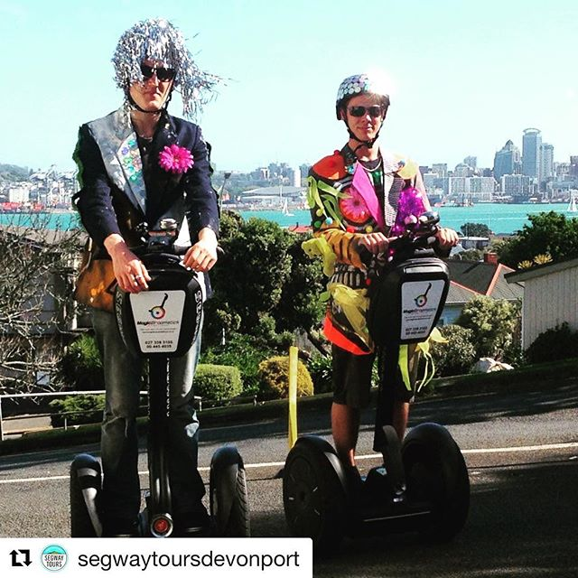 "The winner of the segway rider outfit of the day - evidently it's art week in Auckland New Zealand 🇳🇿 with our friends at Magic Broomstick segway Tours Devonport . . @segwaytoursdevonport ・・・ Ask our friendly Street Ambassadors They'll show you how to ""Segue"" to the Arts in Devonport this Saturday."