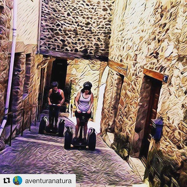 "Segway tour with the x2 model climbing through the historic streets of Catalunya area of  Spain  great way to climb the hills . . . @aventuranatura ・・・ El ""rinconcito"" con más encanto de Santa Pau."