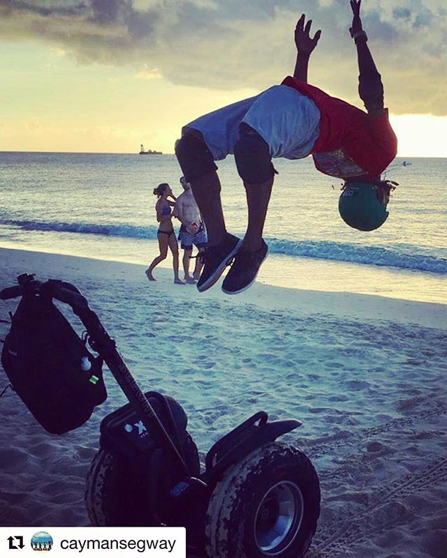 Segway Tours in the Cayman Islands 🇰🇾 so good you will want to jump for joy - or a back flip beach time never looked better! . .  @caymansegway ・・・ Tour Guide Marcus does a back flip try this at home!