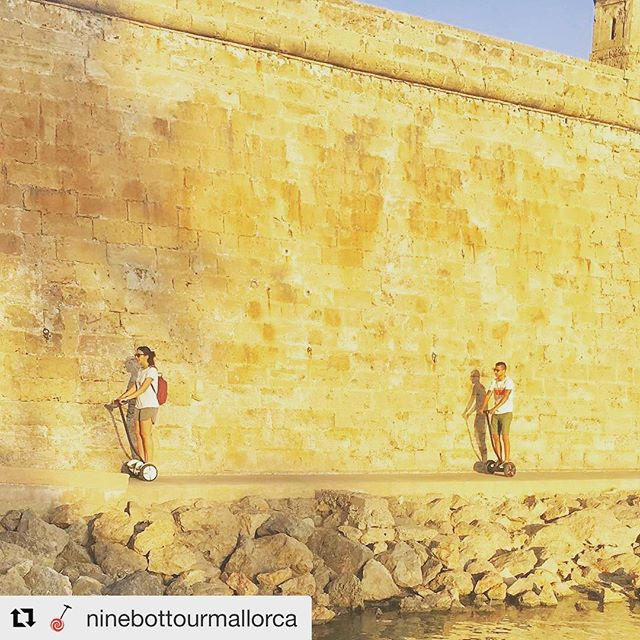 Segway beautiful tour photo of the day is in Mallorca Spain  gliding along the walls of the cathedral . . @ninebottourmallorca ・・・ Las mejores historias se esconden tras estas murallas. --- The best stories hide behind these walls.