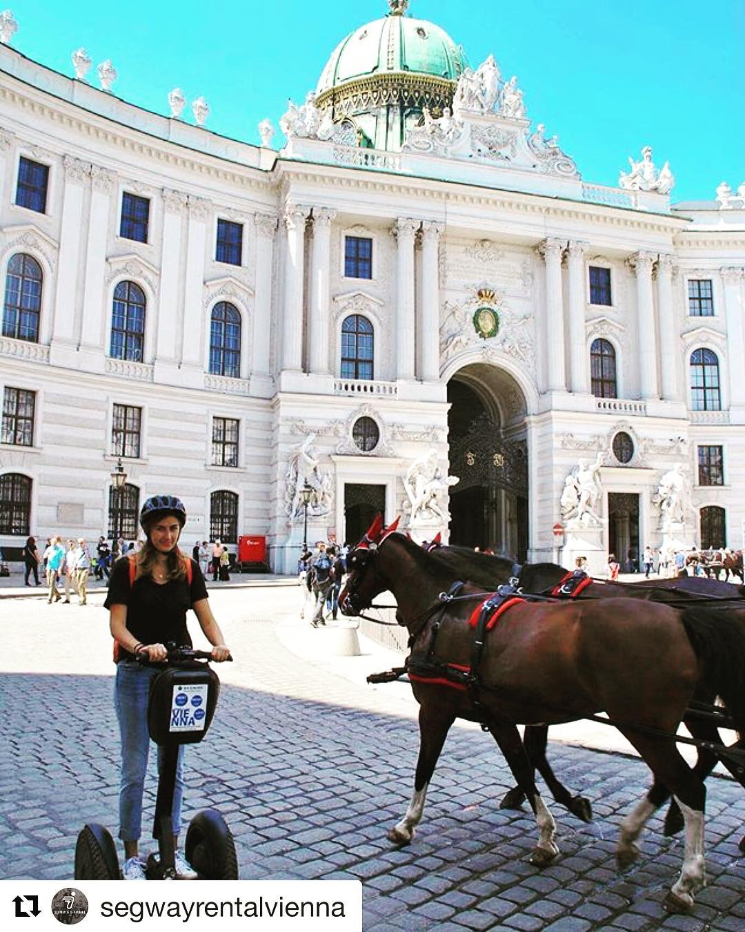 Travel by segway or horse drawn carriage ? We choose the segway for touring Vienna Austria 🇦🇹 Plus Segway's don't require quite as much hay and oats . . . @segwayrentalvienna ・・・ The Michaelerplatz is one of the most beautiful and famous squares in Vienna. It's also the most visited one. It's architecture and appearance is elegant and noble, with the presence of historically important buildings and it's own historical importance. Take the Segway and explore this place!
