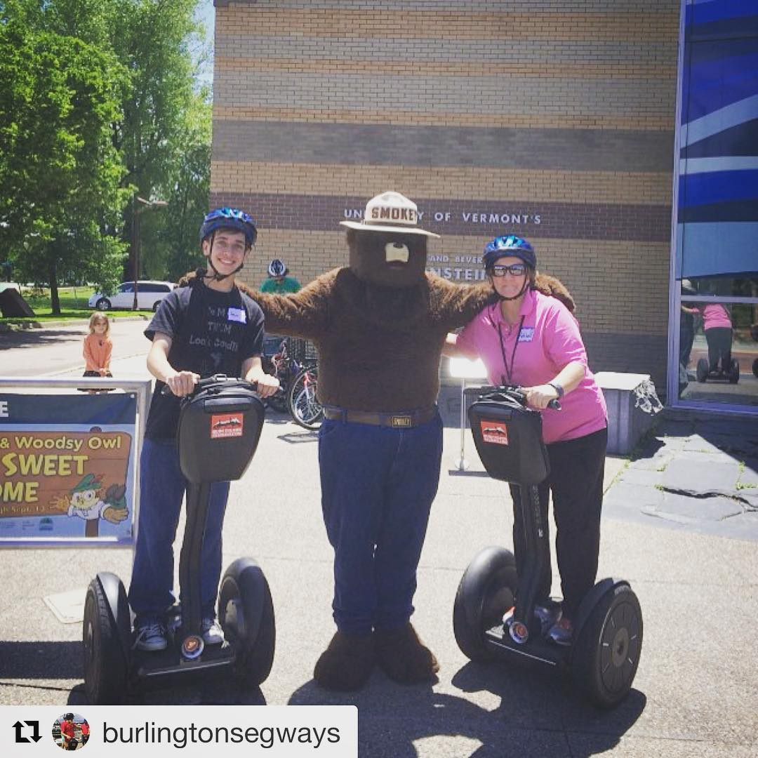 Segway instructor of the day is Smokey the Bear making an appearance in Burlington Vermont. More fun that preventing forest fires! . . @burlingtonsegways ・・・ Always a treat to see friend, @smokeybear, enjoying a great Sunday down by the waterfront. Out of shot Woodsy the Owl, talking to one of our tour guides, about the importance of conserving Monarch butterflies and their habitat. Down at the @echo_vt