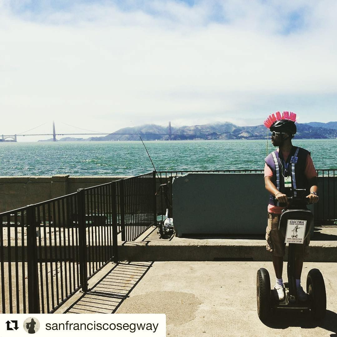 Segway style photo of the day is from San Francisco Ca USA  riding Segways is a blast cool helmet is just icing on the cake! .. . @sanfranciscosegway ・・・ Get your fav mohawk on and get out and glide with us! No matter your stylish helmet choice Muni Pier in San Francisco is the perfect place to check out the You can watch @redwhitefleet ,  @blueandgoldfleet and @hornblowercruises  all cruise by on the bay. Or check out views of and the . With private tours for 2 to 8 guests or our rated wharf and waterfront segway tours we have the experiences you should try. Come out and enjoy the in on . .