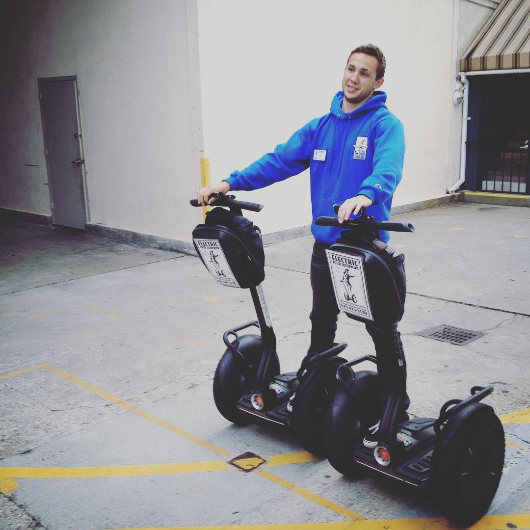 Not the recommended way to ride a segway but one way to move equipment between the tours! One segway per customer is how the tours glide in San Francisco. The Electric Tour Company is the Number one rated tour in the city on TripAdvisor for the 3rd year in a row! . . .