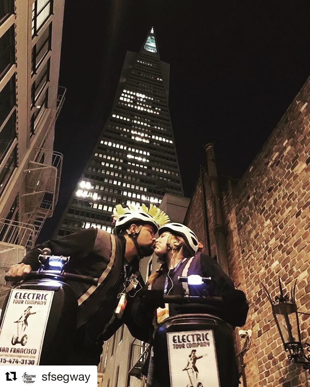 Segway tour of the day is this romantic pic taken in San Francico near the iconic Transmerica pyramid tower. The Electric Tour Company runs a night tour that includes the San Francisco waterfront, Fishermans wharf and Chinatown.  @sfsegway ・・・ San Francisco is for lovers ️ Grab your significant other and join us gliding near the Transamerica Pyramid this summer. Don't wait- Book your nighttime Segway tour and you will get to check out the @exploratorium @sfferrybuilding @pier39 plus glide thru Chinatown and onto the Embarcadero. Here's to having more silliness, fun and frivolity on your vacation. . .