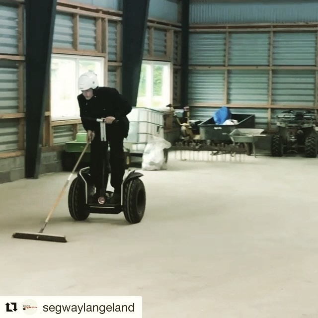 """Running a segway tour company in Langeland is not just fun and games some days you have to clean the shop . . @segwaylangeland ・・・ Fun at """"the Office""""."""