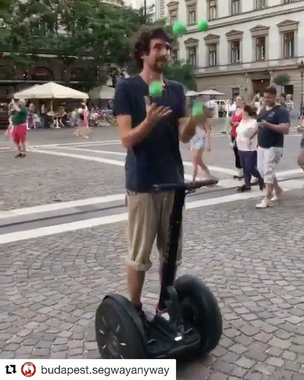 The segway video of the day is from Budapest Hungary 🇭🇺 Segway riding with a bit of four ball juggling thrown in to keep it interesting. . . @budapest.segwayanyway ・・・ Juggling