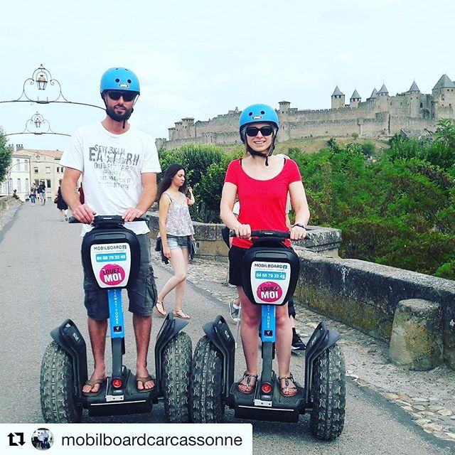 Segway tour of the day is from the medieval city of Carcassonne in France  . . . @mobilboardcarcassonne ・・・ Miguel et Céline de passage à Carcassonne arrêt obligé chez Mobilboard Carcassonne 😎😎😎