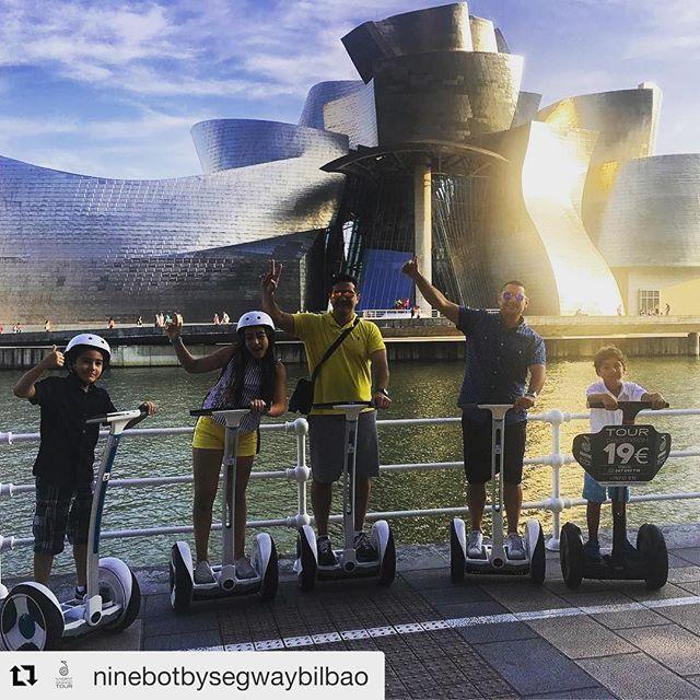 Segway tour of the day is from Bilbao Spain with a spectacular view of the Guggenheim Museum designed by Frank Gehry . . @ninebotbysegwaybilbao ・・・ En familia y entre amigos los tours se hacen mejor . Desde Venezuela 🇻🇪 y con nuestros mejores deseos para el pueblo venezolano