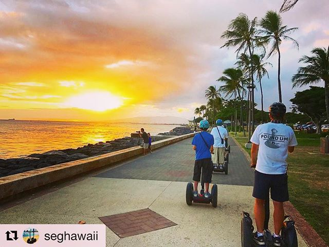 Segway tour sunset of the day from Honolulu Hawaii USA  Chasing sunsets on segway tours sounds good to us! . . .  @seghawaii ・・・