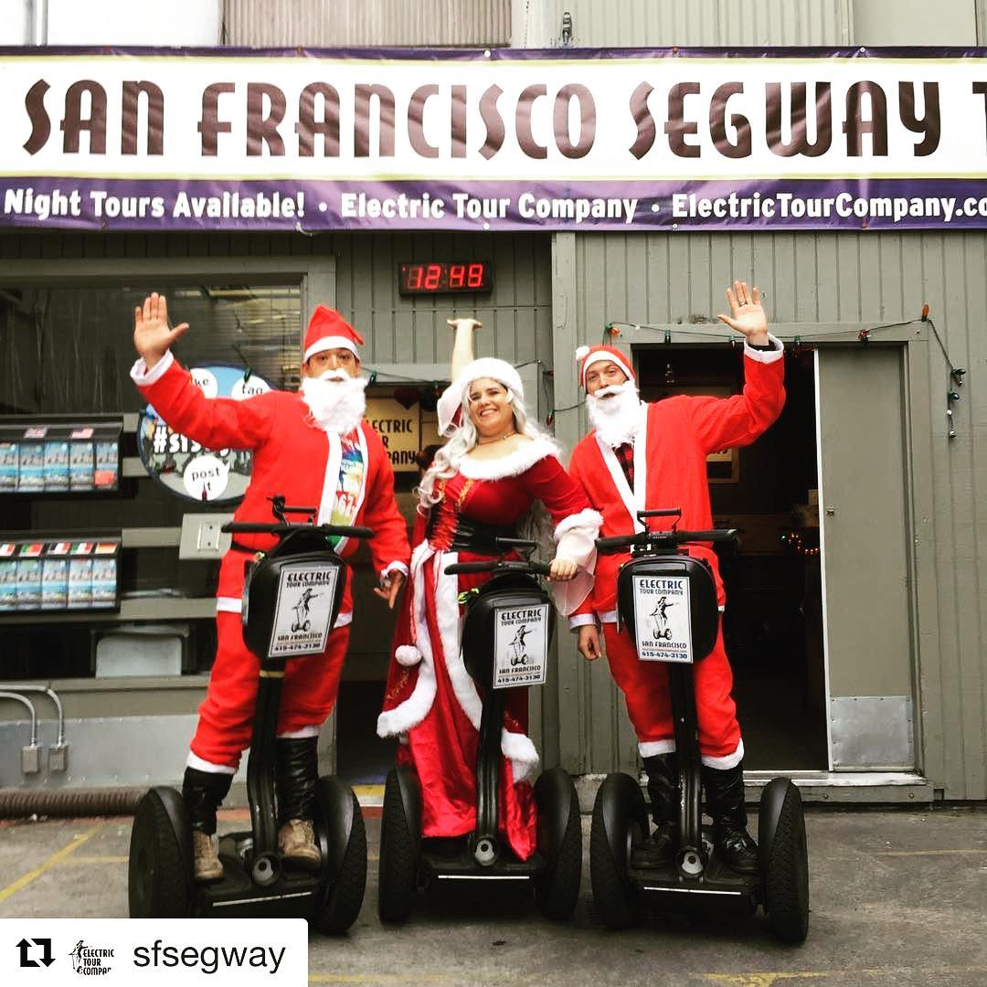 Happy holidays and here's to a fun filled 2018. Warm California wishes from the Electric Tour Company in San Francisco to your corner of the world. Hoe you have enjoyed @segwayworldwide tjis year. Stay tuned for more Segway Fin in 2918. . . . Repost @sfsegway ・・・ Still need a last minute gift? 'It's the season for giving and what better gift than a fun-filled Segway Tour. Have a great holiday from our Segway Santas and Mrs. Claus too . . .
