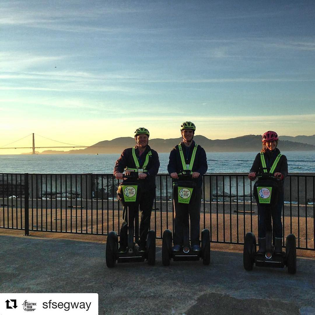 Celebrating the last days of 2017 and looking forward to many more adventures in 2018. Happy New Year from San Francisco California . @sfsegway ・・・ Happy holidays from SF. Typical winter day here in the city!  makes an brief appearance over and  Forcast here in light fog in the am and clearing in the afternoon. Book a tour and you will be our gliding through the city by the bay. On the wharf and waterfront tour Segway on Muni pier with amazing views of Alcatraz and the the Golden Gate Bridge. It's going to be a beautiful winter weekend in @fishermanswharf  Join us for a Segway tour of the waterfront, little Italy and Fisherman's Wharf. For you folks with a tight schedule we have our new 1.5 hour mini tour this year. .. . .