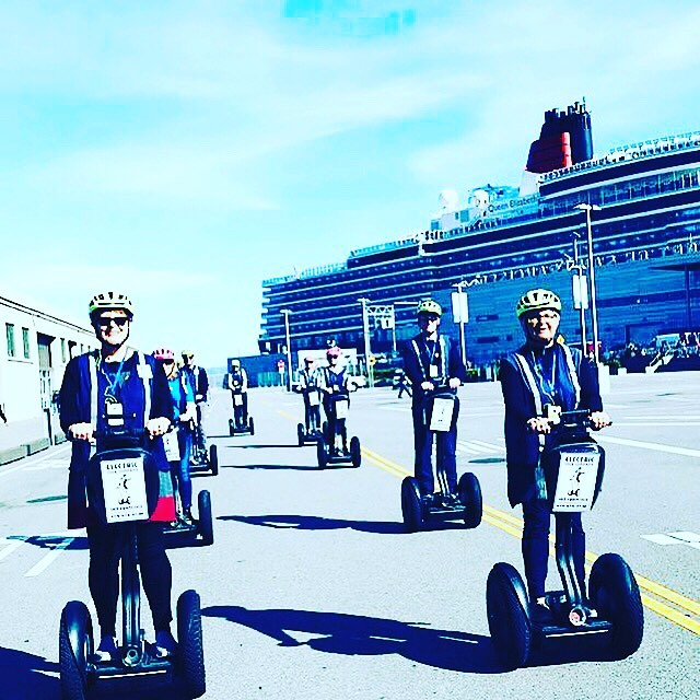 Cunard Liner Queen Elizabeth makes a call in San Francisco and guests hop aboard a Segway tour with @sfsegway . . @sanfranciscosegway ・・・ We had Segway tour guests from the  cruise ship Queen Elizabeth. Testing our new tour route starting shipside. Join us ona Segway tour of and along the . .