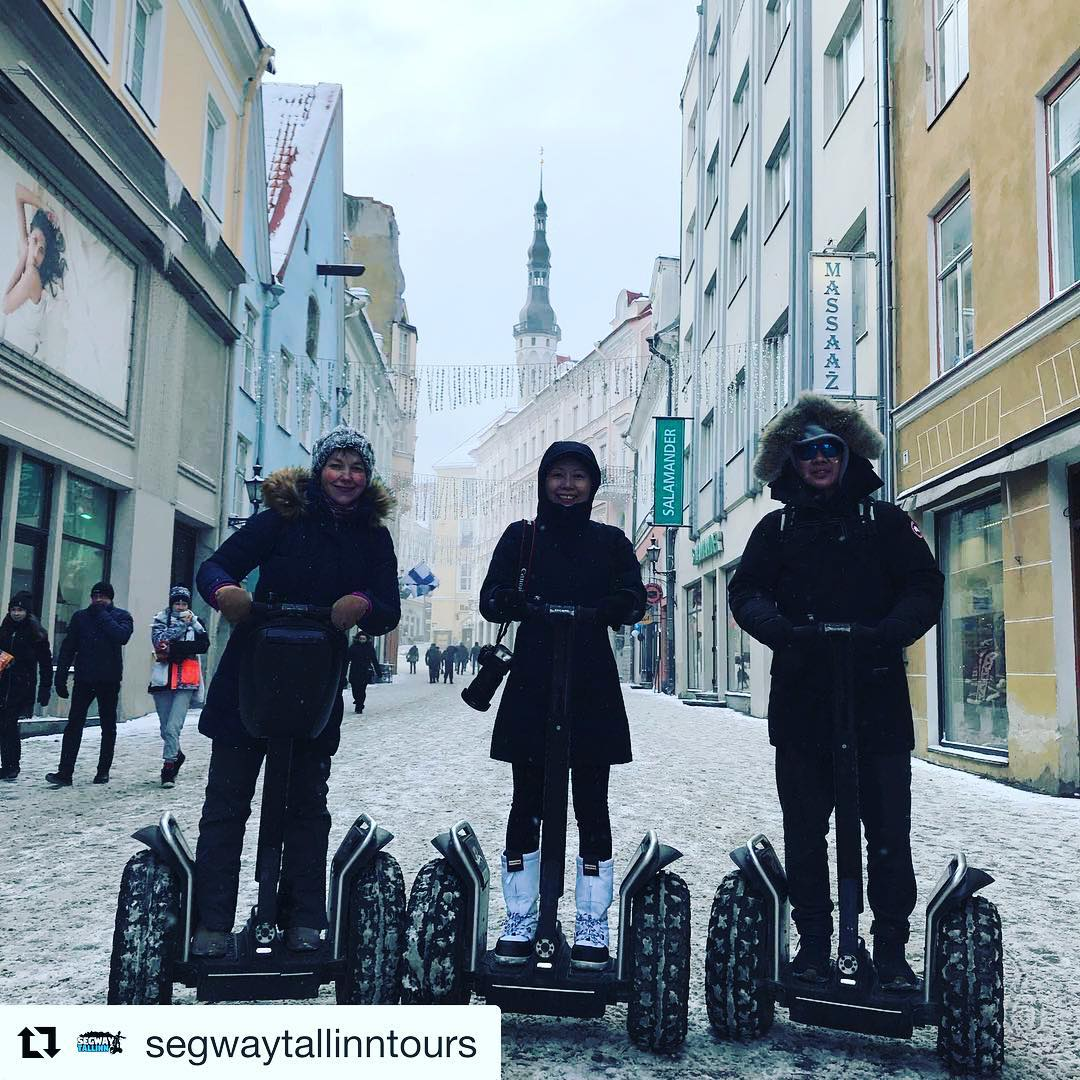 A beautiful warm day for an x2 Segway tour in historic Talinn Estonia - fun in any weather - bundle up! . . @segwaytallinntours ・・・ Segway Tour in winter! Temperature outside -8 (feels like -14️)