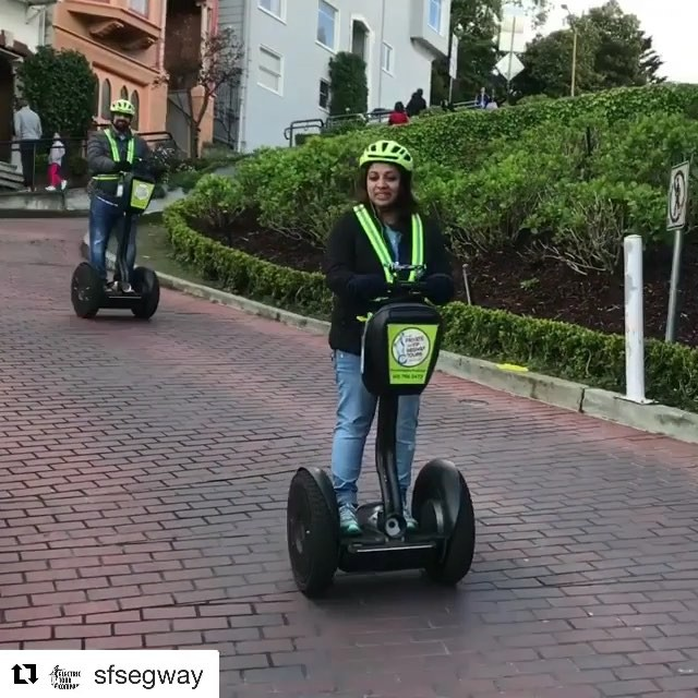 Segway down the curviest street in San Francisco with the Electric Tour Company. Explore the world 🌎 with amazing  Segway tours. . @sfsegway ・・・ People are always amazed seeing segways traveling down the crookedest street! Book a tour now and you can be the newest tourist attraction in sf! . . . .