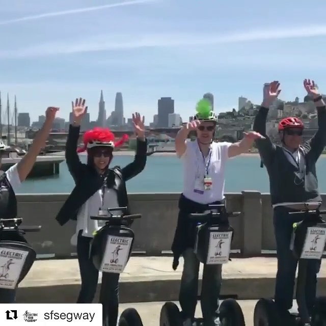 "@sfsegway ・・・ ""That was awesome!"" - Vip Tour group on municipal pier  in with tour guide @omgitsjohnsegway in the lead. San Francisco Electric Tour Company with tours starting in and . . . . . . ."