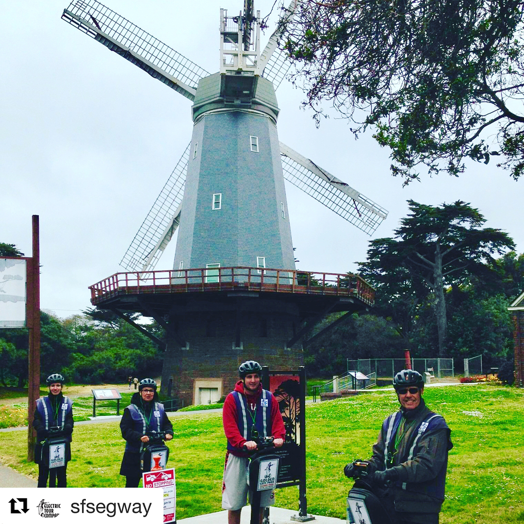 @sfsegway ・・・ Windmills in San Francisco!! Electric Tour Company guests enjoying our new Segway to Ocean Beach advanced rider tour. 3 hours of Segway riding fun in Glide past casting ponds, bison paddock, 2 windmills and end up looking at the Pacific  Ocean. New park route for 2018 . Book online or call 415-474-3130 . . . . . . oceanbeach