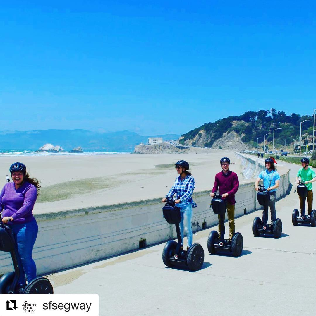 "It's a beach day at Ocean Beach in San Francisco. Book today and enjoy our new ""Segway to Ocean Beach"" advanced rider tour. 3 hours of Segway riding fun in Glide past casting ponds, bison paddock, 2 windmills and end up looking at the Pacific  Ocean. This is our amazing new park route for 2018 . Book online or call 415-474-3130 . . . . . ."