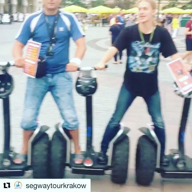 Ok maybe one rider per Segway! Segway tricks in Krakow . @segwaytourkrakow ・・・ http://segwaykrakow.pl