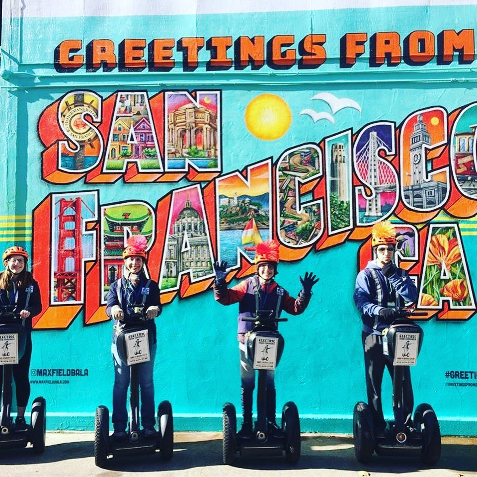 Greetings from San Francisco and @sfsegway and @sanfranciscosegway tours. . . . @greetingsfromsanfran mural located at the Electric Tour Company office in Fisherman's Wharf. .