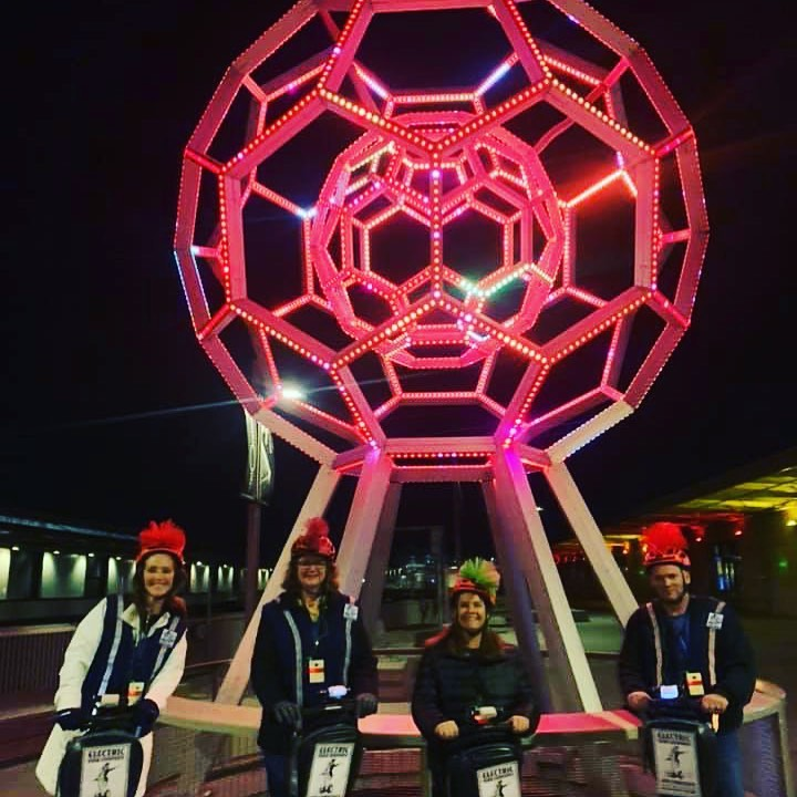 The Bucky Ball @exploratorium in is one of the stops on the @sfsegway Night city lights . San Francisco has an amazing array of destinations that shine at night. Book online at ElectricTourCompany.com . . .