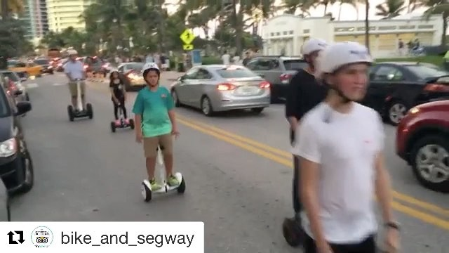 @segwayworldwide segway  tour of the day in Miami Beach Florida.  Touring on mini pros! Looks like fun! .  @bike_and_segway ・・・ is to .