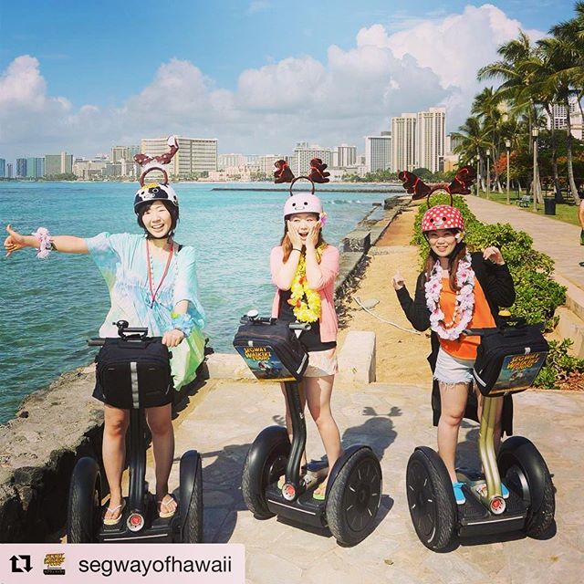 Segway tour beach destination of the day is Waikiki beach in Honolulu Hawaii with @segwayofhawaii . . . @segwayofhawaii ・ Real early haha aloha !